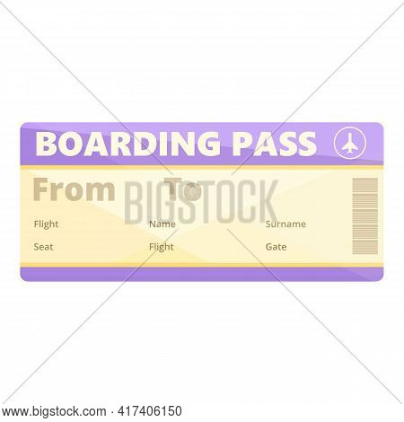 Visa Boarding Pass Icon. Cartoon Of Visa Boarding Pass Vector Icon For Web Design Isolated On White