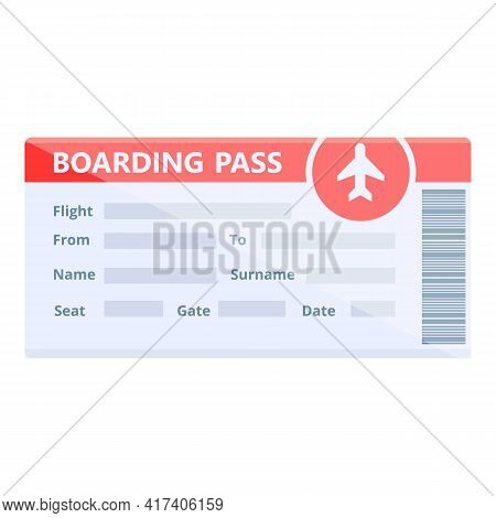 New Boarding Pass Icon. Cartoon Of New Boarding Pass Vector Icon For Web Design Isolated On White Ba