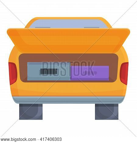Travel Bags Trunk Car Icon. Cartoon Of Travel Bags Trunk Car Vector Icon For Web Design Isolated On