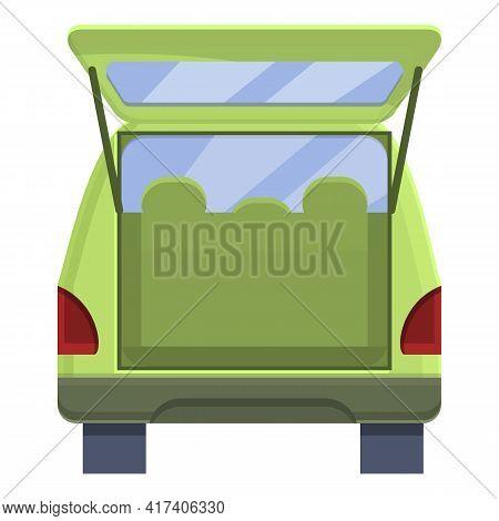 Minivan Trunk Car Icon. Cartoon Of Minivan Trunk Car Vector Icon For Web Design Isolated On White Ba