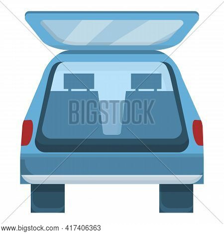 Luggage Trunk Car Icon. Cartoon Of Luggage Trunk Car Vector Icon For Web Design Isolated On White Ba