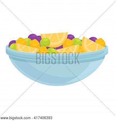 Fresh Fruit Salad Icon. Cartoon Of Fresh Fruit Salad Vector Icon For Web Design Isolated On White Ba
