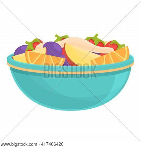Exotic Fruit Salad Icon. Cartoon Of Exotic Fruit Salad Vector Icon For Web Design Isolated On White