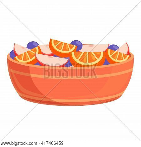 Delicious Fruit Salad Icon. Cartoon Of Delicious Fruit Salad Vector Icon For Web Design Isolated On