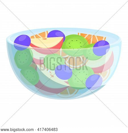 Juicy Fruit Salad Icon. Cartoon Of Juicy Fruit Salad Vector Icon For Web Design Isolated On White Ba
