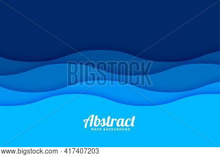 Papercut Style Sea Wave Pattern Background Design Vector Illustration