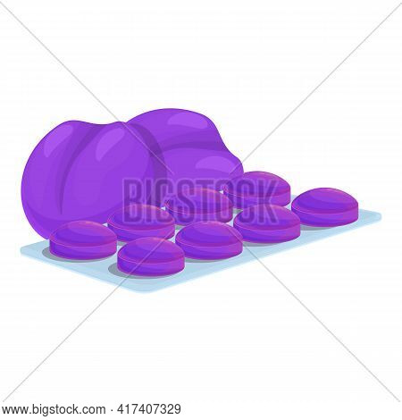 Plum Cough Drops Icon. Cartoon Of Plum Cough Drops Vector Icon For Web Design Isolated On White Back