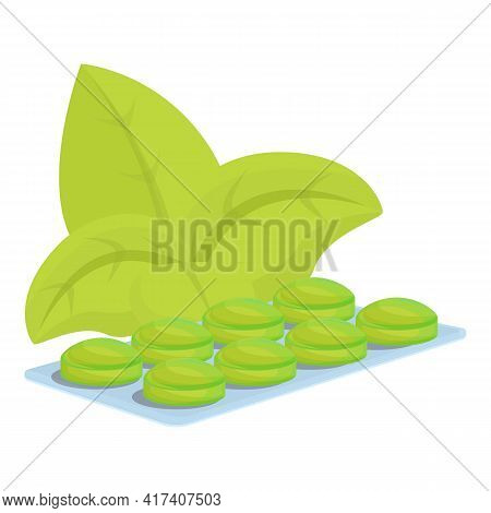 Bio Green Cough Drops Icon. Cartoon Of Bio Green Cough Drops Vector Icon For Web Design Isolated On