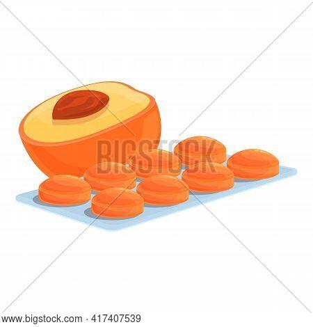 Peach Cough Drops Icon. Cartoon Of Peach Cough Drops Vector Icon For Web Design Isolated On White Ba