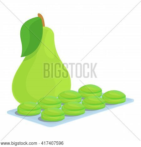 Green Pear Cough Drops Icon. Cartoon Of Green Pear Cough Drops Vector Icon For Web Design Isolated O