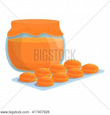 Jam Cough Drops Icon. Cartoon Of Jam Cough Drops Vector Icon For Web Design Isolated On White Backgr