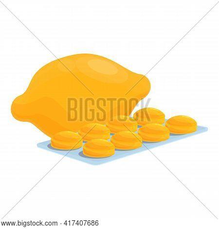 Exotic Lemon Cough Drops Icon. Cartoon Of Exotic Lemon Cough Drops Vector Icon For Web Design Isolat