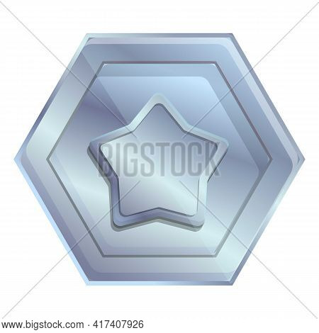Ranking Silver Coin Icon. Cartoon Of Ranking Silver Coin Vector Icon For Web Design Isolated On Whit