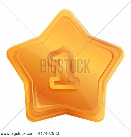 Gold Place Star Icon. Cartoon Of Gold Place Star Vector Icon For Web Design Isolated On White Backgr