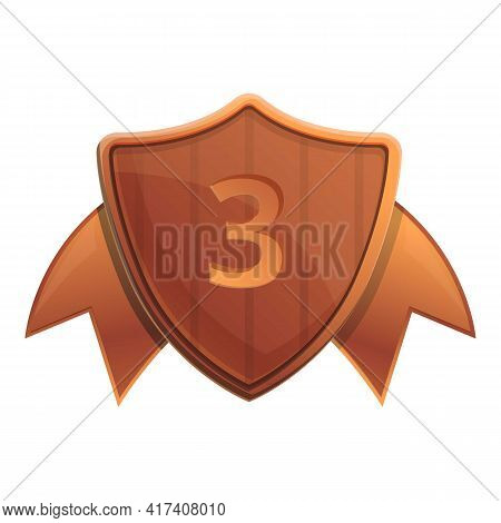 Third Place Shield Icon. Cartoon Of Third Place Shield Vector Icon For Web Design Isolated On White