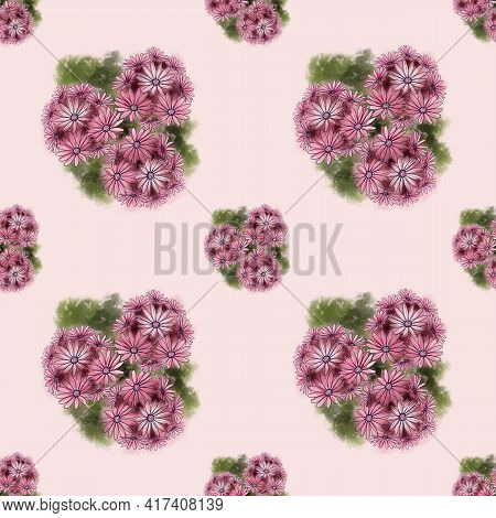 Seamless Botanical Pattern With Red Marguerites Bouquet And Green Leafs On A Pink Background