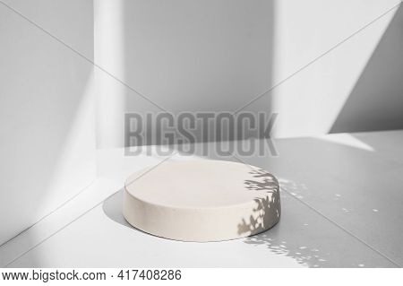 Abstract Minimal Scene With Geometrical Form. Cylinder Podiums In White Colors. Abstract Background.