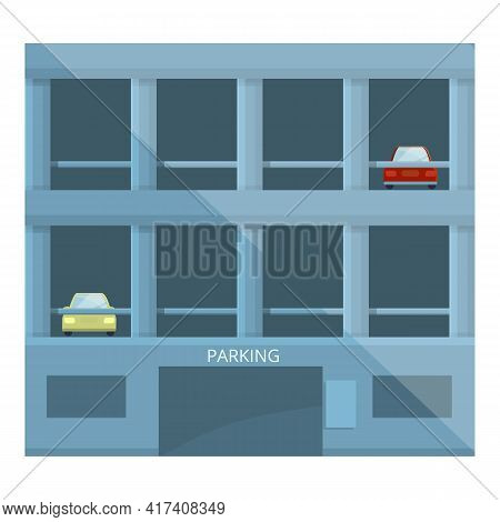Paid Parking Building Icon. Cartoon Of Paid Parking Building Vector Icon For Web Design Isolated On
