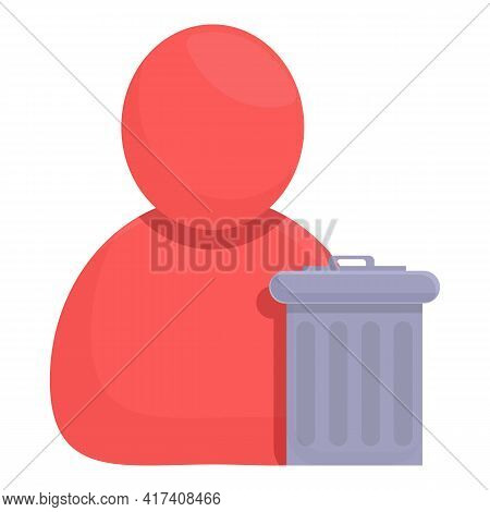 Delete User Garbage Icon. Cartoon Of Delete User Garbage Vector Icon For Web Design Isolated On Whit