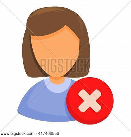Delete Woman User Icon. Cartoon Of Delete Woman User Vector Icon For Web Design Isolated On White Ba