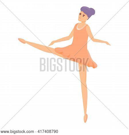 Cute Ballerina Icon. Cartoon Of Cute Ballerina Vector Icon For Web Design Isolated On White Backgrou