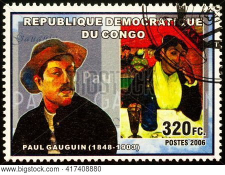 Moscow, Russia - April 14, 2021: Stamp Printed In Congo Shows Portrait Of French Post-impressionist