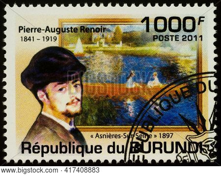 Moscow, Russia - April 14, 2021: Stamp Printed In Burundi Shows Portrait Of French Artist Pierre-aug