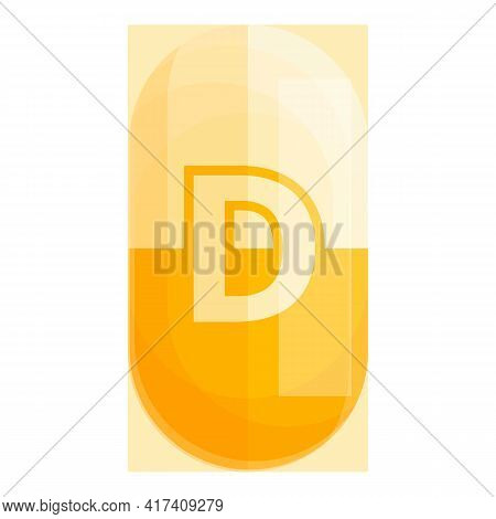 Vitamin D Pill Icon. Cartoon Of Vitamin D Pill Vector Icon For Web Design Isolated On White Backgrou