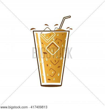 Iced Coffee Milk Vector Illustration For Advertisement, Infographic, Design Element Or Any Other Pur
