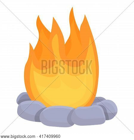 Burning Bonfire Icon. Cartoon Of Burning Bonfire Vector Icon For Web Design Isolated On White Backgr