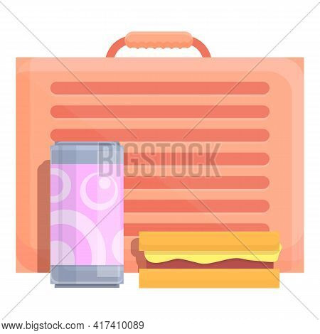 School Breakfast Box Icon. Cartoon Of School Breakfast Box Vector Icon For Web Design Isolated On Wh