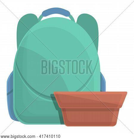 School Breakfast Backpack Icon. Cartoon Of School Breakfast Backpack Vector Icon For Web Design Isol