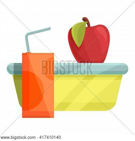 School Breakfast Red Apple Icon. Cartoon Of School Breakfast Red Apple Vector Icon For Web Design Is