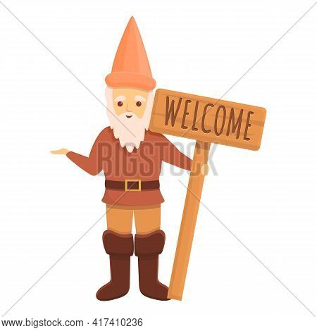 Welcome Garden Gnome Icon. Cartoon Of Welcome Garden Gnome Vector Icon For Web Design Isolated On Wh