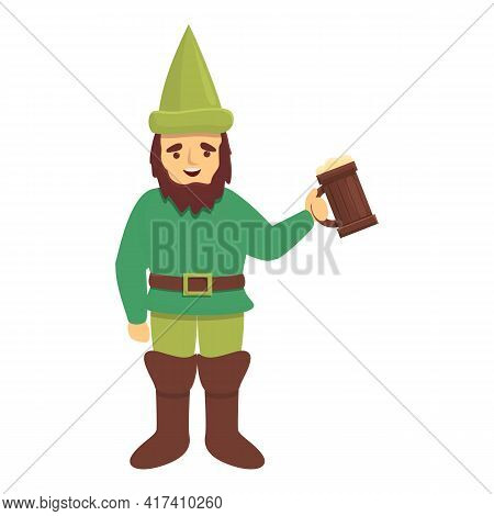 Garden Gnome With Beer Mug Icon. Cartoon Of Garden Gnome With Beer Mug Vector Icon For Web Design Is
