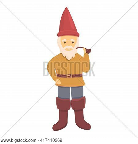 Garden Gnome With Smoking Pipe Icon. Cartoon Of Garden Gnome With Smoking Pipe Vector Icon For Web D