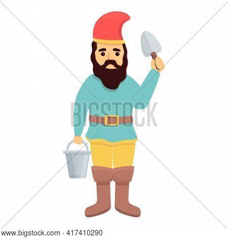 Garden Gnome With Farm Tools Icon. Cartoon Of Garden Gnome With Farm Tools Vector Icon For Web Desig
