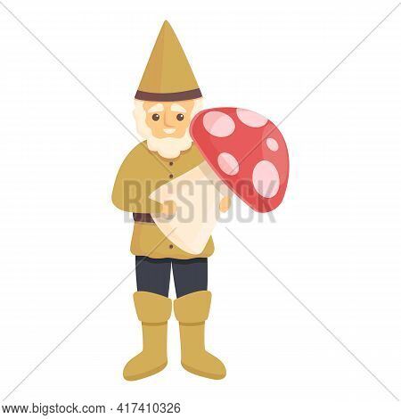 Garden Gnome With Mushroom Icon. Cartoon Of Garden Gnome With Mushroom Vector Icon For Web Design Is