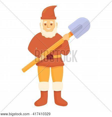 Garden Gnome With Shovel Icon. Cartoon Of Garden Gnome With Shovel Vector Icon For Web Design Isolat
