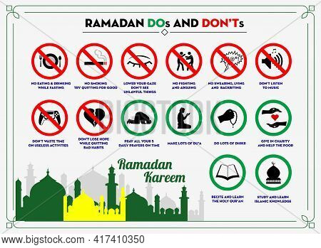Set Of Rules Sign In Ramadan Or Sign Do And Do Not Thing In Ramadan Or Restricted During Month Ramad