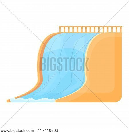 Water Park Wide Slide Icon. Cartoon Of Water Park Wide Slide Vector Icon For Web Design Isolated On