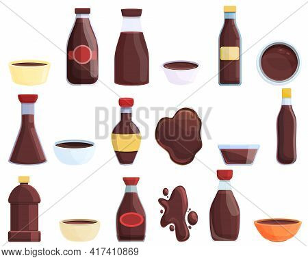 Soy Sauce Icons Set. Cartoon Set Of Soy Sauce Vector Icons For Web Design