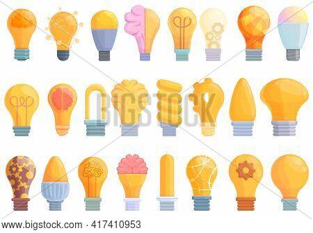 Smart Lightbulb Icons Set. Cartoon Set Of Smart Lightbulb Vector Icons For Web Design