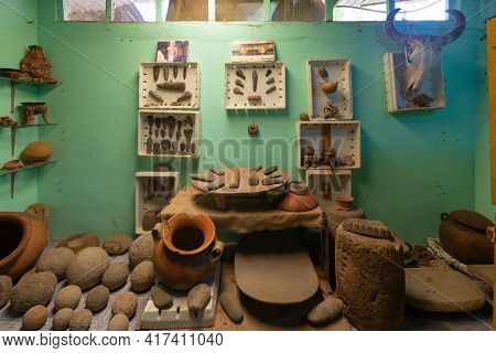Panama Volcan April 11, Pottery Exhibited In Barriles Archaeological Site. Stone Artifacts, Includin