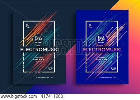 Electro Music Festival Poster With Abstract Lines.
