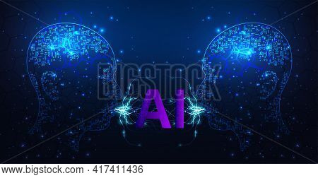 Artificial Intelligence Technology Concept.human Head Outline With Circuit Board Digital Human Face