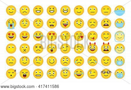 Funny Cartoon Emoji Of Yellow Gradient. Mood Or Facial Emotion Symbol For Digital Chat App Objects.