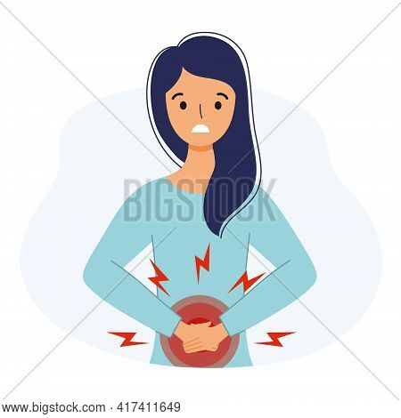 The Girl Suffers From Abdominal Pain. Symptoms Of Gastritis In A Woman.