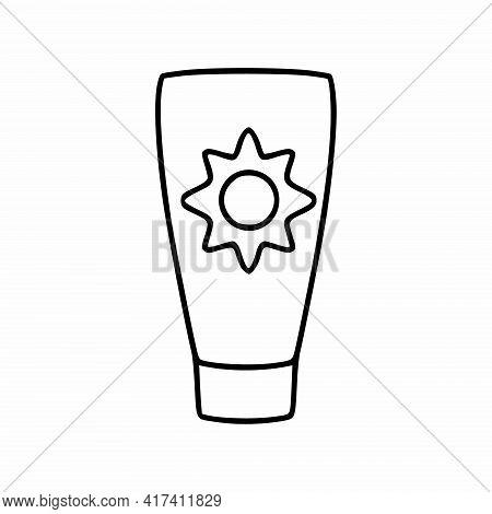 Sunscreen For Sunburn And Sunburn. Vector Illustration In Doodle Style.