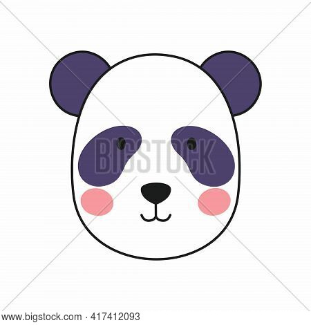 Cute Panda In The Doodle Style. Vector Icon With A Panda Face.